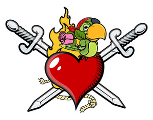 Crossed Swords Heart Valentine Pirates Tattoo - Vector Cartoon Illustration