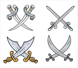 Crossed Swords Set - Cartoon Vector Illustration