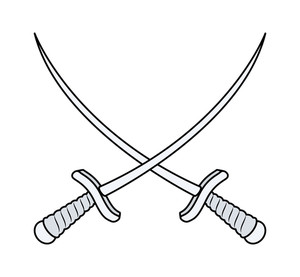 Crossed Swords - Vector Cartoon Illustration