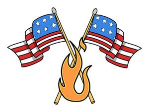 Crossed Usa Flag Vector Illustration