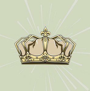 Crown With Rays Vector Illustration