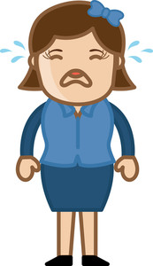 Crying Lady - Business Cartoon Character Vector