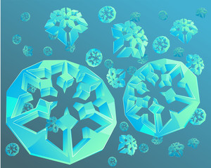 Crystal Snowflakes. Light Blue Background. Vector.