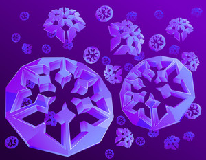 Crystal Snowflakes. Purple Background. Vector.