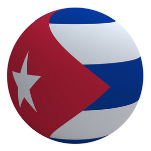 Cuba Flag On The Ball Isolated On White