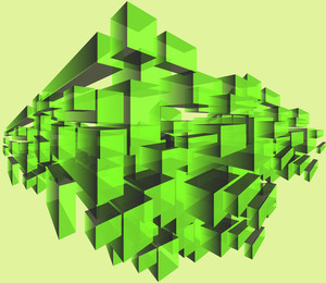 Cubes. Vector Green