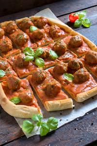 Sliced Meatballs Pizza