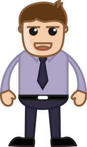 Cunning Office Employee - Business Cartoon Character Vector