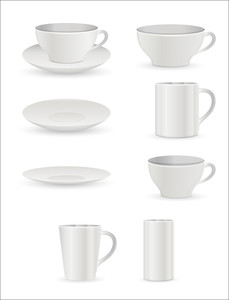 Cup And Plates Vector Elements