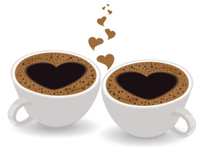 Cup Of Coffee With Heart Shape Image On Isolated White Background