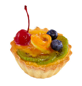 Cupcake with fruits isolated on white
