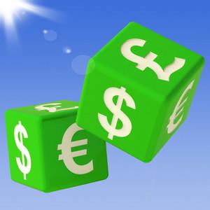 Currencies Dice Flying Showing Money Exchange