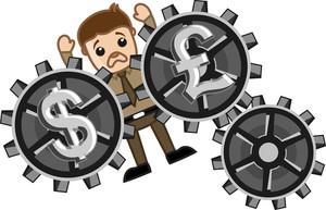 Currency Exchange Loss - Business Cartoons Vectors