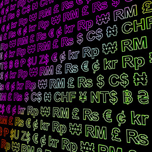 Currency Symbols Glowing In Colors Showing Exchange Rates And Finance