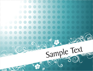 Curve And Floral Elements For Sample Text In Sea Green