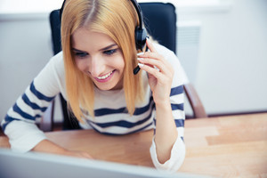 Customer female operator in headset