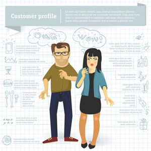 Customer Profile Infographic Vector Template.