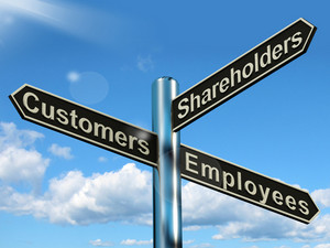 Customers Employees Shareholders Signpost Showing Company Organization