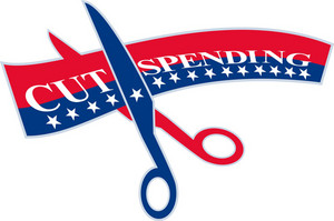 Cut Spending Scissors Cutting Bill