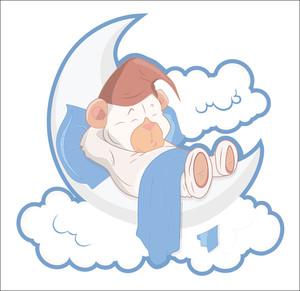 Cut Teddy Bear Sleeping On Moon