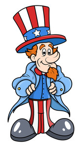Cute And Happy Uncle Sam Cartoon Vector