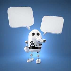Cute Android Robot With Speech Bubbles