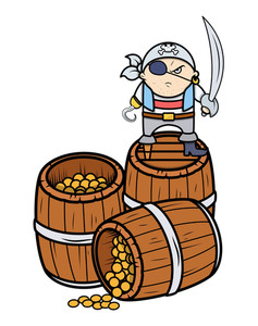 Cute Angry Pirate Captain With Treasure - Vector Cartoon Illustration