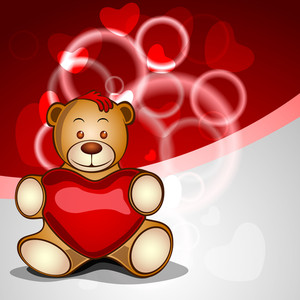 Cute Bear With Red Heart On Shiny Abstract Background.