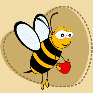 Cute Bee Holding A Heartin On Brown Heart Shape Background.