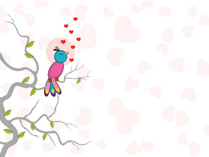 Cute Bird Singing With Hearts. Vector.