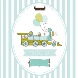 Cute Blue And Green Train Birthday Card