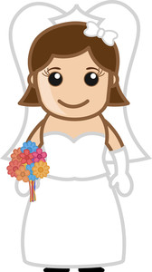 Cute Bride - Vector Character Cartoon Illustration