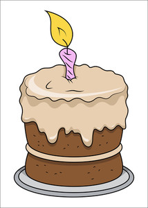 Cute Cartoon Birthday Cake - Vector Illustrations