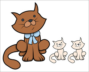 Cute Cartoon Cat With Kittens - Vector Cartoon Illustration
