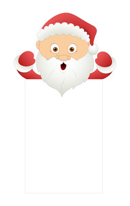 Cute Cartoon Santa With Blank Banner