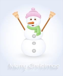 Cute Cartoon Snowman Vector