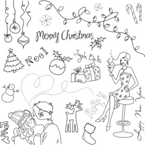 Cute Christmas And New Year Hand Drawn Doodles