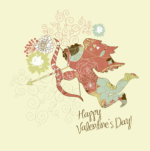 Cute Cupid. Happy Valentine's Day Card.
