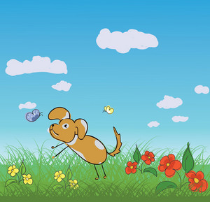 Cute Dog With Flowers Vector Illustration