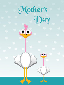 Cute Duck And Duckler Illustration For Mother Day