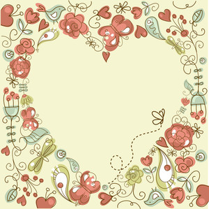 Cute Floral Background With A Heart Frame