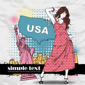 Cute Girl In Sketch-style On A Usa Background. Vector Illustration