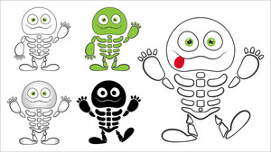 Cute Halloween Skeleton Vector Characters