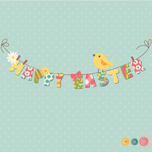 Cute Happy Easter Card. Clothesline With Letters On It.