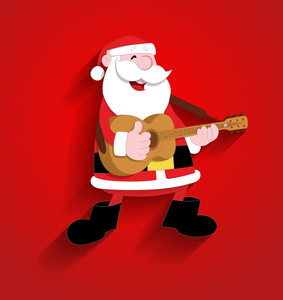 Cute Happy Funny Santa Playing Guitar