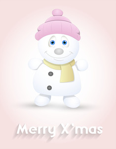 Cute Happy Snowman Character