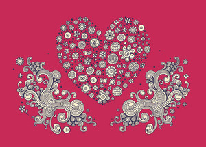 Cute Heart With Modern Swirls On Red Background