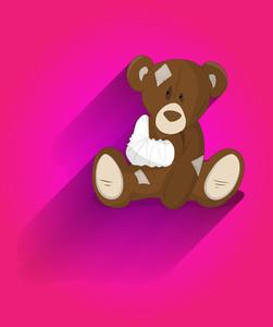 Cute Injured Teddy Bear Cartoon Character
