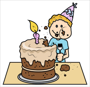 Cute Kid Eating His Birthday Cake - Vector Cartoon Illustration