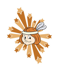 Cute Kid Girl Face With Stars Vector Graphic